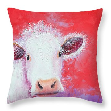 Cow Painting - Charolais Throw Pillow