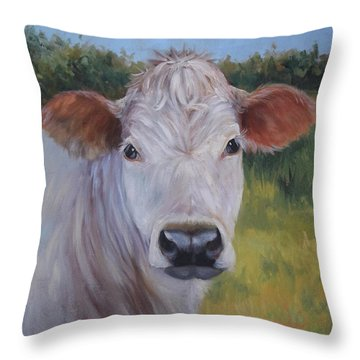 Cow Painting Ms Ivory Throw Pillow