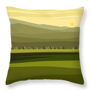 Cow Pass Spring Green Throw Pillow