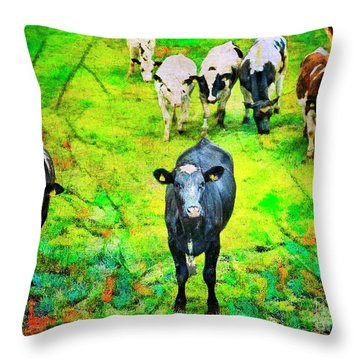Throw Pillow featuring the photograph Cow Patch by Craig J Satterlee