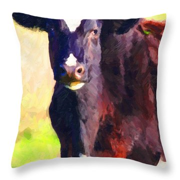 Throw Pillow featuring the photograph Cow Stare 2 . Photoart by Wingsdomain Art and Photography