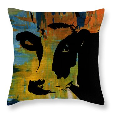 Cow Sunset Rainbow 2 - Poster Print Throw Pillow