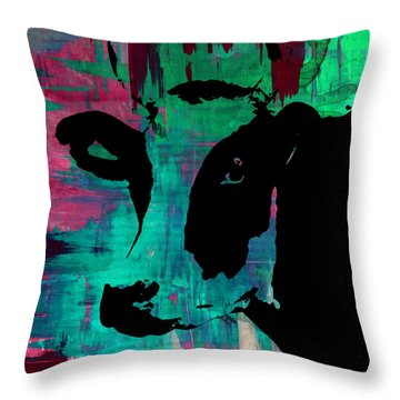 Cow Sunset Rainbow - Poster Print Throw Pillow