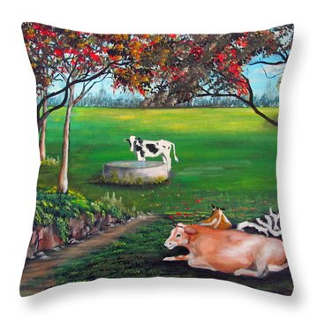 Cow Tales Throw Pillow