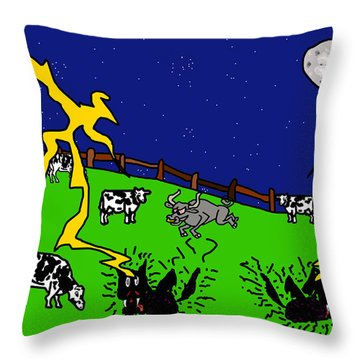 Cow Tipping Throw Pillow by Jera Sky