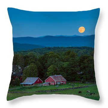 Cow Under The Moon Throw Pillow