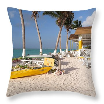 Throw Pillow featuring the photograph Cow Wreck Bay Beach Bar 2 by Eric Glaser