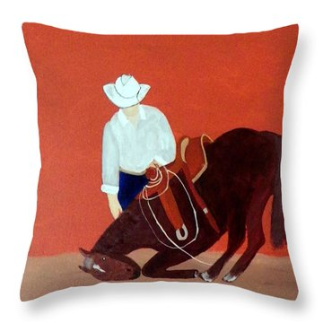 Cowboy And His Horse Throw Pillow