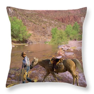 Cowboy And Horse Throw Pillow
