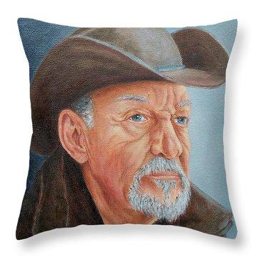 Cowboy Bob Throw Pillow by Susan DeLain