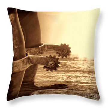Cowboy Boots And Riding Spurs Throw Pillow