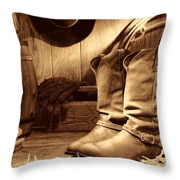 Cowboy Boots In A Ranch Barn Throw Pillow