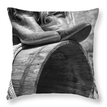 Cowboy Boots In Black And White Throw Pillow