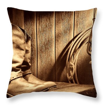 Cowboy Boots In Old Barn Throw Pillow