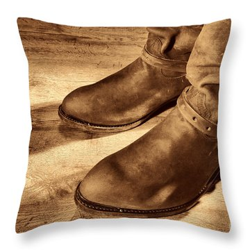 Cowboy Boots On Saloon Floor Throw Pillow