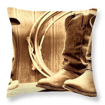 Cowboy Boots On The Deck Throw Pillow