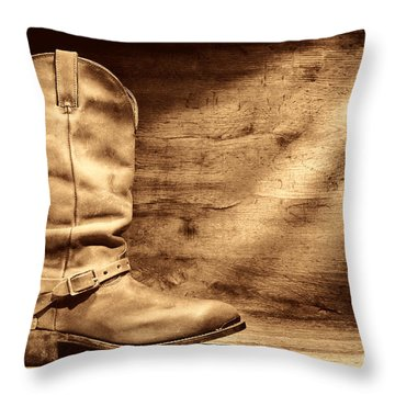 Cowboy Boots On Wood Floor Throw Pillow