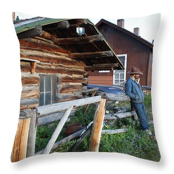 Cowboy Cabin Throw Pillow