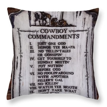 Cowboy Commandments Throw Pillow