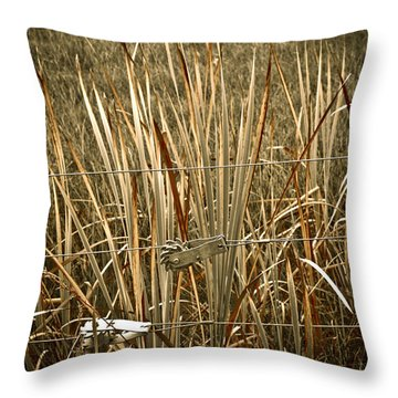 Cowboy Fence Throw Pillow by Marilyn Hunt