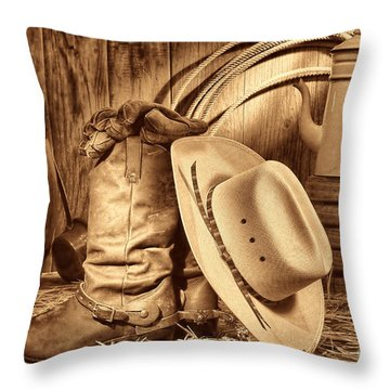 Cowboy Gear In Barn Throw Pillow