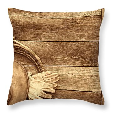 Cowboy Gear On The Floor Throw Pillow by American West Legend By Olivier Le Queinec