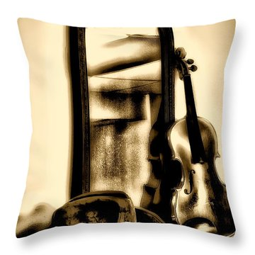 Cowboy Hat And Fiddle Throw Pillow by Bill Cannon