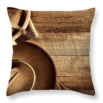 Cowboy Hat And Gear On Wood Throw Pillow