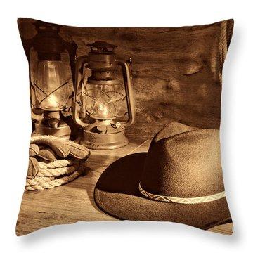 Cowboy Hat And Kerosene Lanterns Throw Pillow