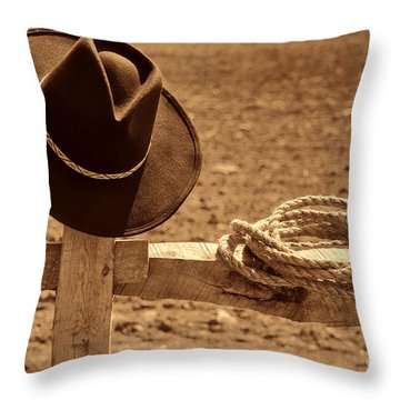 Cowboy Hat And Rope On A Fence Throw Pillow