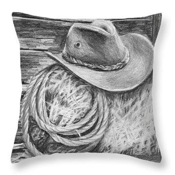 Cowboy Hat In A Barn Throw Pillow by Nolan Clark