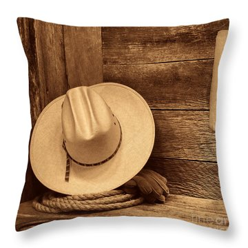 Cowboy Hat In Town Throw Pillow