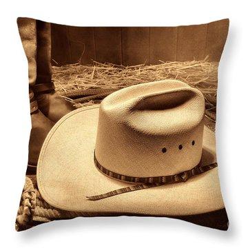 Cowboy Hat On Barn Floor Throw Pillow