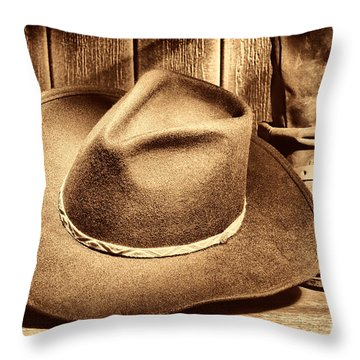Cowboy Hat On Floor Throw Pillow