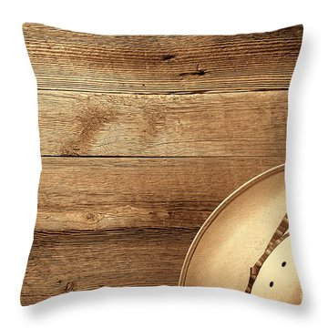Cowboy Hat On Wood Table Throw Pillow
