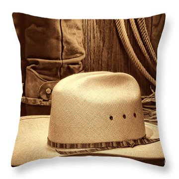 Cowboy Hat With Western Boots Throw Pillow