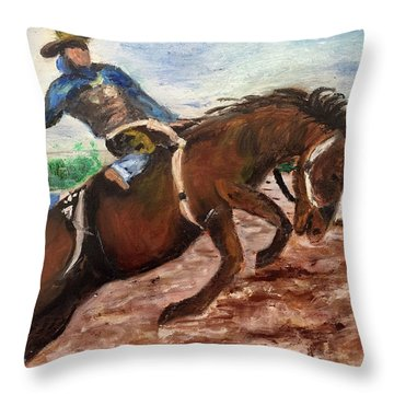 Cowboy In A Rodeo Throw Pillow