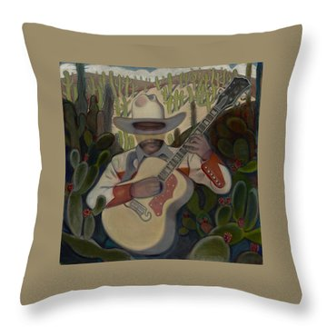 Cowboy In The Cactus Throw Pillow