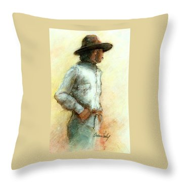 Cowboy In Thought Throw Pillow