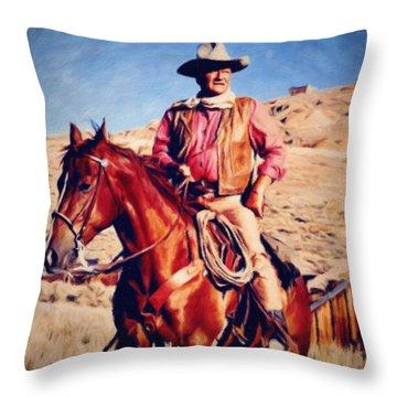 Cowboy John Wayne Throw Pillow