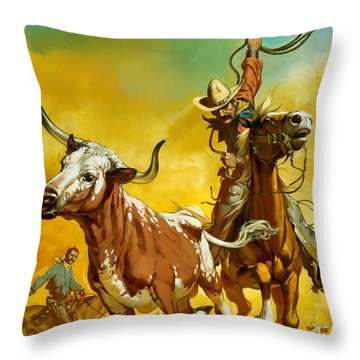 Cowboy Lassoing Cattle  Throw Pillow