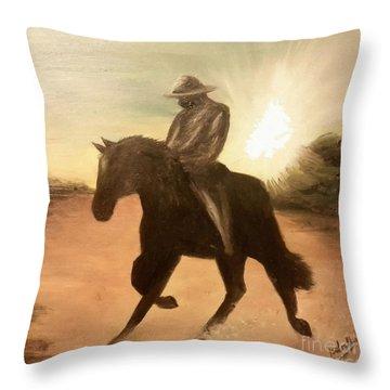 Cowboy On The Range Throw Pillow