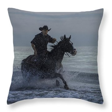 Cowboy Riding In The Surf Throw Pillow