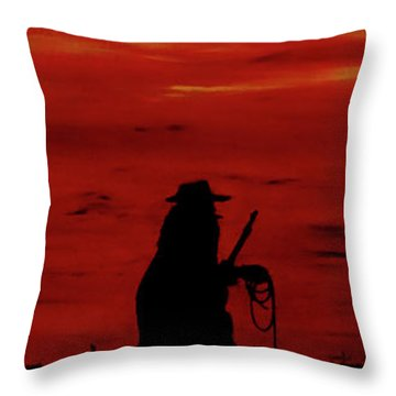 Cowboy Throw Pillow by Robert Marquiss