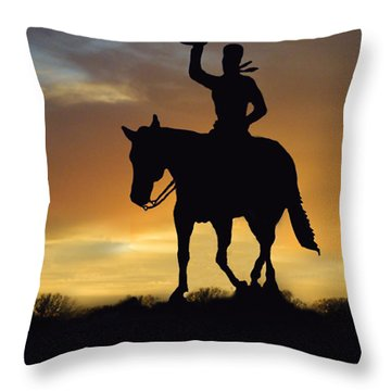 Cowboy Slilouette Throw Pillow by Linda Phelps