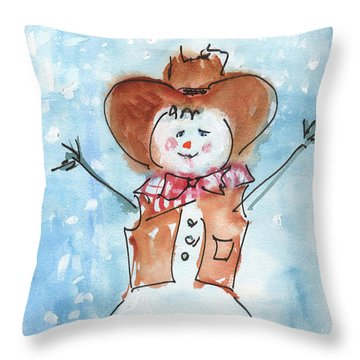 Cowboy Snowman Watercolor Painting By Kmcelwaine Throw Pillow
