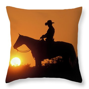 Cowboy Sunset Silhouette Throw Pillow