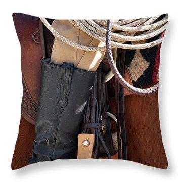 Cowboy Tack Throw Pillow by Joan Carroll