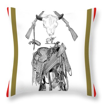 Throw Pillow featuring the drawing Cowboy Tribute by Jack Pumphrey