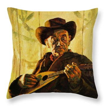 Cowboy With Mandolin Throw Pillow by John Lautermilch